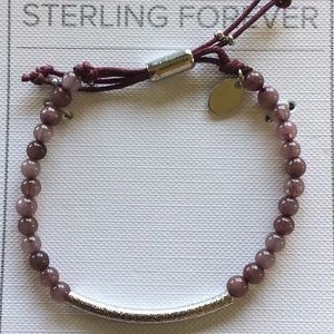 Sterling Forever Textured Zbar & Beaded Bolo Brace